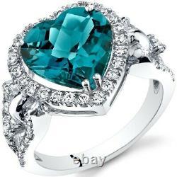 Oravo 14k Or Blanc 4.00 Carat London Blue Topaz Heart Shape Halo Ring