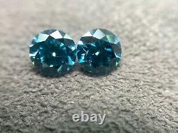 Paire De Diamants Perdus Naturels Fancy VIVID Blue 2.11 Carat Total Vs1 Coupe Ronde