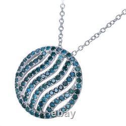 Pendentif Diamant Bleu De 2,25 Cttw. 925 Sterling D'argent Avec Chaîne De 18 Pouces