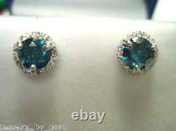 Platinum Enhanced Blue And White Diamond Stud Boucles D'oreilles 1.09 Carat Micro Pave