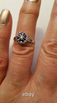 Pretty 0.69 Carat Tanzanite & Genuine Diamond 14kt Solide Blanc Ring Old Sz 7