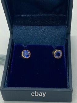 Qualité Glorieuse 18 Carat Or Cornflower Bleu Saphir Boucles D'oreilles Stud Vshf-149