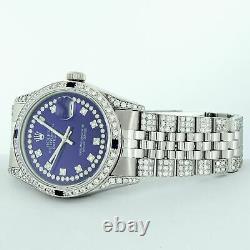 Rolex Mens Datejust Watch S/steel 18k White Gold Blue Diamond Dial 5.50 Carat