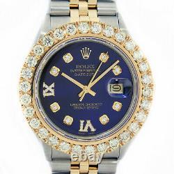 Rolex Watch Hommes Datejust Steel-18k Yellow Gold Blue Diamond Dial 4 Carat Diamond
