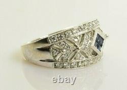 Saphir Et Bague Diamant En Or Blanc 14k. 62 Carats Taille 7