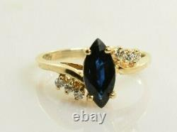 Saphir Et Bague Diamant En Or Jaune 14k 1.04 Carats Taille 6.25