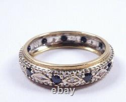 Saphir Et Diamond Ring Pleine Éternité 9 Carats Taille Or O1/2