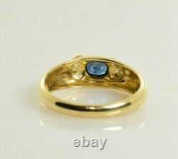 Saphir Naturel Et Bague Diamant En Or Jaune 18 Carats. 40 Carats Taille 6.75