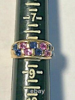Signé 10k Gold 1.50 Carat Pink & Blue Sapphire Men+women Ring 4.36 Gr +ring Box