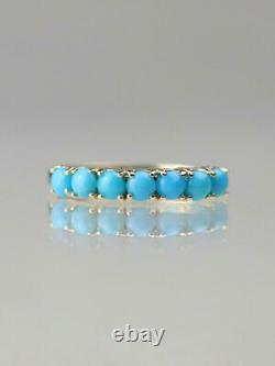 Sleeping Beauty Turquoise Solide 14 Karat Gold Band Ring
