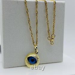 Solide Véritable 9carat Or Jaune Bleu Evil Collier De Collier 18 Nouveau