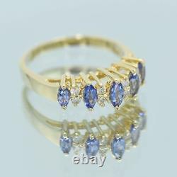 Sophia Fiori 14k Or 1/2 Carat Marquise Tanzanite Naturel 1/4 Ct Diamond Ring