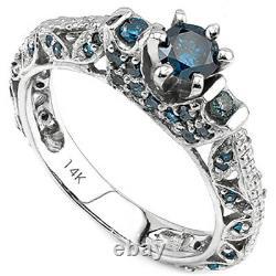 Superbe 1/2 Carat (21 Pcs) Diamond Solitaire 14k Bague En Or Blanc Massif