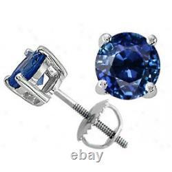 Toutes Les Boucles D'oreilles 14k White Gold Blue Sapphire Round Cut Stud Screw Back