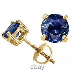 Toutes Les Boucles D'oreilles 14k Yellow Gold Blue Sapphire Round Cut Stud Screw Back