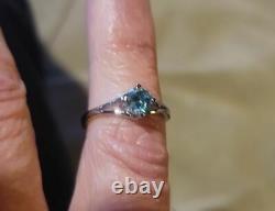 Vendeur Américain. Solitaire Diamant Bleu Certifié 5 Carats Dans L'anneau D'argent Sterling