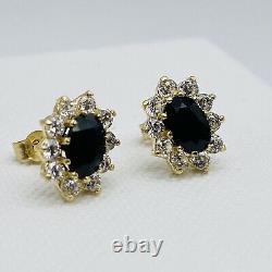 Véritable 9carat (ct) Boucles D'oreilles De Cluster De Saphir Bleu Or Jaune Nouveau