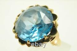 Vintage 10k Or Jaune 16 Carat Blue Topaz Estate Statement Taille De La Bague 5,25