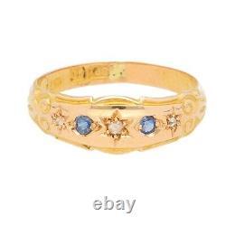 Vintage 15 Carats Saphir Or Jaune & Diamant Robe Bague (taille J 1/2) 6mm Large