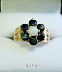 Vintage 9 Carat Gold, Sapphire Et Opal Flower Cluster Ring Size J J1/2