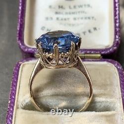 Vintage 9ct Or Jaune Grande Bague De Déclaration Blue Topaz 6.79 Carats Uk L, Us