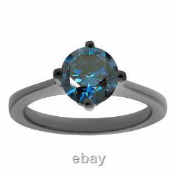 Vintage Bague De Fiançailles En Diamant Bleu Amélioré Unique 1.02 Carat 14k Or Noir