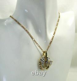 Vintage Beautiful 14 Carats Gold Sapphire Ruby & Diamond Leopard Brooch Pendentif