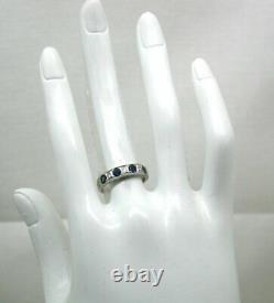 Vintage Belle 18 Carats Saphir En Or Blanc Et Bague Diamant Taille J