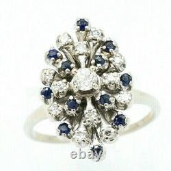 Vintage Estate 1/2 Carat Diamond & Sapphire Cocktail Ring 14k Or Blanc