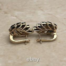 Vintage Or Jaune Boucles D'oreilles De Cocktail Saphir Naturel Et Diamant 14 Karat Or