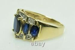 Vintage Saphir Et Bague Diamant En Or Jaune 10k 3.22 Carats Taille 6