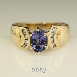 Violet Blue 1.25 Carat Natural Tanzanite & Diamond 14k Gold Ring Taille 7.5