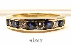 Vtg 14k Or Bleu Saphir Diamond Ring Sz 6.5 Channel Estate. 2 Tcw Carat Row