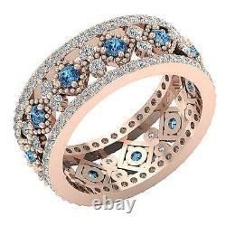 Vvs1 E 2.05 Carat Natural White Blue Diamond 14k Rose Or Anneau D'éternité Rs 5.5
